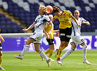 20190810 - ANDERLECHT, BELGIUM : Anderlecht's Charlotte Tison (left) pictured in a duel with LSK's Isabelle Bachor (r) during the female soccer game between the Belgian RSCA Ladies – Royal Sporting Club Anderlecht Dames  and the Norwegian LSK Kvinner Fotballklubb ladies , the second game for both teams in the Uefa Womens Champions League Qualifying round in group 8 , saturday 10 th August 2019 at the Lotto Park Stadium in Anderlecht  , Belgium  .  PHOTO SPORTPIX.BE for NTB NO | DAVID CATRY