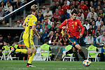 Spain national team player Alvaro Morata and Sweden national team player Filip Helander during UEFA EURO 2020 Qualifier match between Spain and Sweden at Santiago Bernabeu Stadium in Madrid, Spain. June 10, 2019. (ALTERPHOTOS/A. Perez Meca)