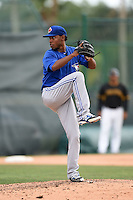 Toronto Blue Jays pitcher Francisco Gracesqui (3) during a minor league spring training game against the Pittsburgh Pirates on March 26, 2015 at Pirate City in Bradenton, Florida.  (Mike Janes/Four Seam Images)