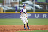 Conner Dunbar (24) of the High Point Panthers takes his lead off of second base against the Campbell Camels at Williard Stadium on March 16, 2019 in  Winston-Salem, North Carolina. The Camels defeated the Panthers 13-8. (Brian Westerholt/Four Seam Images)