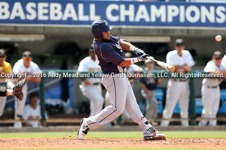 03 June 2016: Nova Southeastern's Brandon Gomez hits a home run, tying the game 1-1. The Nova Southeastern University Sharks played the Millersville University Marauders in Game 13 of the 2016 NCAA Division II College World Series  at Coleman Field at the USA Baseball National Training Complex in Cary, North Carolina. Nova Southeastern won the first game of the best of three Championship Series 2-1.
