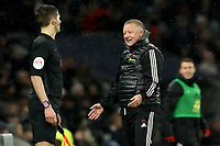 9th November 2019; Tottenham Hotspur Stadium, London, England; English Premier League Football, Tottenham Hotspur versus Sheffield United; Sheffield United Manager Chris Wilder celebrates the goal from George Baldock for 1-1 in the morning 78th minute -  Strictly Editorial Use Only. No use with unauthorized audio, video, data, fixture lists, club/league logos or 'live' services. Online in-match use limited to 120 images, no video emulation. No use in betting, games or single club/league/player publications