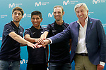 The leaders of Movistar Team, Mikel Landa, Nairo Quintana and Alejandro Valverde, accompanied by the general manager of the team Eusebio Unzue, during the press conference before to the start of the Tour de France. June 18, 2018. (ALTERPHOTOS/Acero)