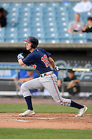 Shortstops Christian Hicks (10) of The Bolles High School in St. Augustine, Florida playing for the Atlanta Braves scout team during the East Coast Pro Showcase on August 2, 2013 at NBT Bank Stadium in Syracuse, New York.  (Mike Janes/Four Seam Images)