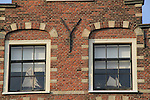 Sailboat models in windows, along the Spaarne River, Haarlem, Holland, Netherlands.