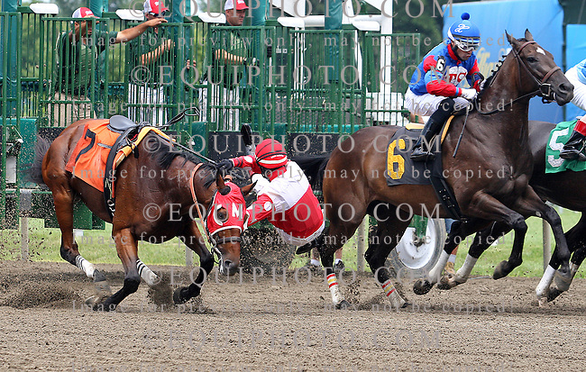 Jockey Trevor McCarthy was thrown from his mount Peter Castleboy after the four year old gelding stumbled leaving the starting gate in the 3rd race at Monmouth Park in Oceanport, New Jersey on Saturday July 26, 2014.  Both horse and rider were not injured in the incident.   Photo By Bill Denver/EQUI-PHOTO