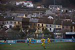Action from the first-half as Cambrian and Clydach Vale (in blue) take on Cwmbran Celtic at King George's New Field in a Welsh League Division One match, the top division of the Welsh Football League and the second level of the Welsh football league system. The club, formed in 1965 reached the final of the 2018-19 League Cup final and can count on ex-England manager Terry Venables as a former club chairman. Cambrian and Clydach Vale won this match 2-0, watch by a crowd of around 100 spectators.