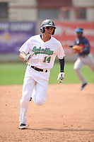 Clinton LumberKings left fielder Dimas Ojeda (14) in action during the game against the Bowling Green Hot Rods at Ashford University Field on May 2, 2018 in Clinton, Iowa.  (Dennis Hubbard/Four Seam Images)