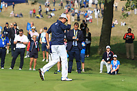 Webb Simpson (Team USA) on the 3rd green during the Friday Foursomes at the Ryder Cup, Le Golf National, Ile-de-France, France. 28/09/2018.<br /> Picture Thos Caffrey / Golffile.ie<br /> <br /> All photo usage must carry mandatory copyright credit (&copy; Golffile | Thos Caffrey)