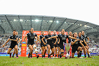 Team of New Zealand does the Haka  after the Final women match between New zealand and Australia at the HSBC Paris Sevens, stage of the Rugby Sevens World Series at Stade Jean Bouin on June 10, 2018 in Paris, France. (Photo by Sandra Ruhaut/Icon Sport)