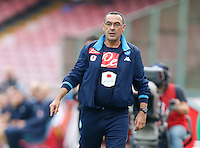 Napoli's coach  Maurizio Sarri gestures  during the Italian Serie A soccer match between SSC Napoli and AC Fiorentina  at San Paolo stadium in Naples,October 18, 2015
