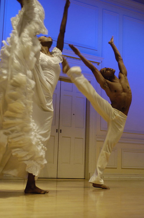 """Dancers  Dwana Adiaha Smallwood and Matthew Rushing of Alvin Ailey preformed a vignette of """"Wade In The Water"""" during a press conference and announcement of the recent donation of the Alvin Ailey American Dance Theater archives to the Library of Congress."""