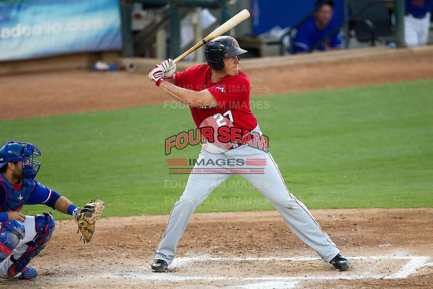 Oklahoma City RedHawks first baseman Mike Hessman #27 at bat during the Pacific Coast League baseball game against the Round Rock Express on June 15, 2012 at the Dell Diamond in Round Rock, Texas. The Express shutout the RedHawks 2-1. (Andrew Woolley/Four Seam Images).