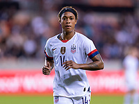 HOUSTON, TX - FEBRUARY 03: Jess McDonald #14 of the United States runs to the corner during a game between Costa Rica and USWNT at BBVA Stadium on February 03, 2020 in Houston, Texas.