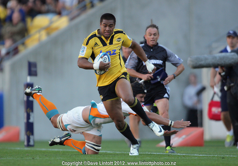 Julian Savea in action during the Super 15 rugby match between the Hurricanes and Cheetahs at Westpac Stadium, Wellington, New Zealand on Saturday, 31 March 2012. Photo: Dave Lintott / lintottphoto.co.nz