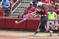 NWA Democrat-Gazette/J.T. WAMPLER Arkansas' A.J. Beans connects with the ball during the Hogs' gams against Wichita State Sunday May 20, 2018 at the NCAA Regional Softball Tournament at Bogle Park in Fayetteville. Arkansas won 6-4.