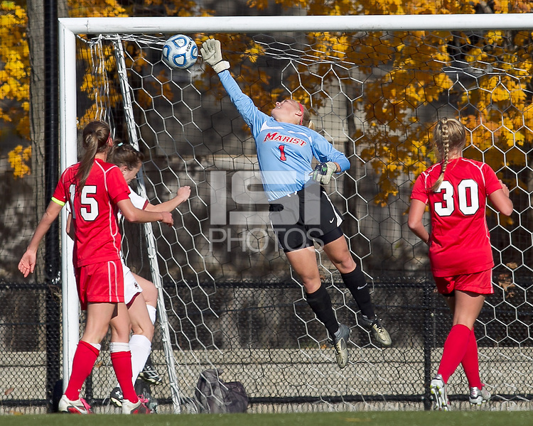 Marist College goalkeeper Caitlin Landsman (1) stretches for the ball. Boston College defeated Marist College, 6-1, in NCAA tournament play at Newton Campus Field, November 13, 2011.