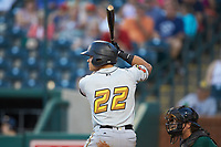 Deon Stafford (22) of the West Virginia Power at bat against the Greensboro Grasshoppers at First National Bank Field on August 9, 2018 in Greensboro, North Carolina. The Power defeated the Grasshoppers 9-7 in game two of a double-header. (Brian Westerholt/Four Seam Images)