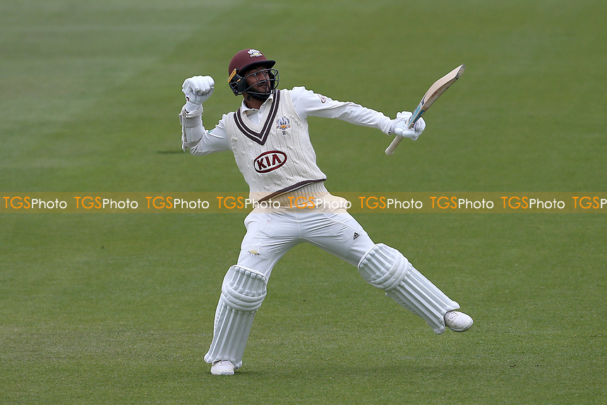 Ryan Patel of Surrey celebrates after reaching his century during Surrey CCC vs Essex CCC, Specsavers County Championship Division 1 Cricket at the Kia Oval on 12th April 2019