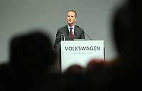 03 May 2018, Germany, Berlin: Herbert Diess, CEO of Volkswagen AG, speaking at the Volkswagen AG annual general meeting at the Messegelaende in Berlin. Photo: Wolfgang Kumm/dpa /MediaPunch ***FOR USA ONLY***