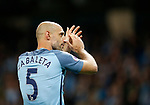 Pablo Zabaleta of Manchester City applauds the fans after his last game during the English Premier League match at the Etihad Stadium, Manchester. Picture date: May 16th 2017. Pic credit should read: Simon Bellis/Sportimage