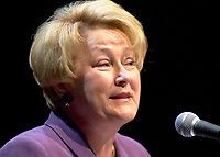 Dec 10, 2001, Montreal, Quebec, Canada<br />   <br /> Quebec Minister of Finance Louise Marois speak at the launch of Hexagram, December 10th 2001 in Montreal, CANADA.<br /> <br />  Marois finally became PQ leader in 2007. The upcoming Quebec provincial election will be held Dec 14, 2008.