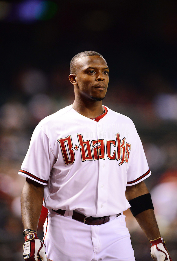 Aug. 28, 2012; Phoenix, AZ, USA: Arizona Diamondbacks outfielder Justin Upton in the ninth inning against the Cincinnati Reds at Chase Field. Mandatory Credit: Mark J. Rebilas-