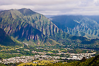 View of the Windward (East) side of Oahu, Hawaii from Mt. Olomana