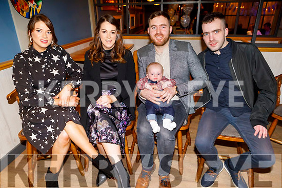 The christening party of baby Ryan Young from Tralee in Benner's Hotel on Saturday.<br /> Seated l to r: Gillian Fitzgerald (GM), mom Karen McKenna, baby Ryan and dad Darren Young and godfather Shane Young.