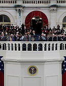 United States President Barack Obama waves after his speech at the ceremonial swearing-in at the U.S. Capitol during the 57th Presidential Inauguration in Washington, Monday, January 21, 2013.  .Credit: Scott Andrews / Pool via CNP