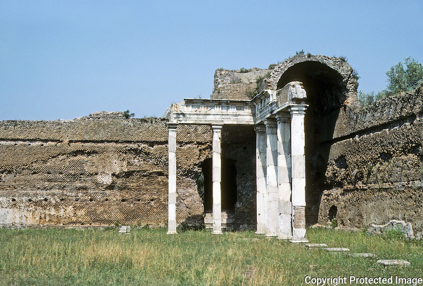Italy: Tivoli--Hadrian's Villa. The Hall of the Doric Piers, detail. A vast Basilica, 82M x 23M. Photo '83.