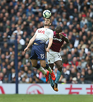 Tottenham Hotspur's Eric Dier and West Ham United's Michail Antonio<br /> <br /> Photographer Rob Newell/CameraSport<br /> <br /> The Premier League - Tottenham Hotspur v West Ham United - Saturday 27th April 2019 - White Hart Lane - London<br /> <br /> World Copyright © 2019 CameraSport. All rights reserved. 43 Linden Ave. Countesthorpe. Leicester. England. LE8 5PG - Tel: +44 (0) 116 277 4147 - admin@camerasport.com - www.camerasport.com