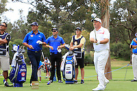 Damien McGrane (IRL) on the 2nd tee during Round 1 of the ISPS HANDA Perth International at the Lake Karrinyup Country Club on Thursday 23rd October 2014.<br /> Picture:  Thos Caffrey / www.golffile.ie