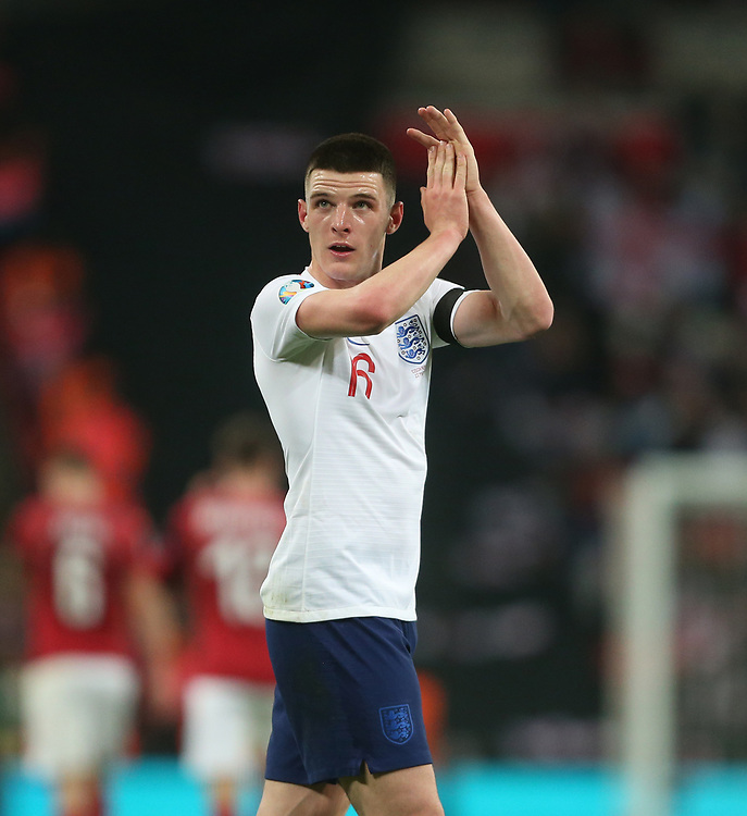 England's Declan Rice<br /> <br /> Photographer Rob Newell/CameraSport<br /> <br /> UEFA Euro 2020 Qualifying round - Group A - England v Czech Republic - Friday 22nd March 2019 - Wembley Stadium - London<br /> <br /> World Copyright © 2019 CameraSport. All rights reserved. 43 Linden Ave. Countesthorpe. Leicester. England. LE8 5PG - Tel: +44 (0) 116 277 4147 - admin@camerasport.com - www.camerasport.com