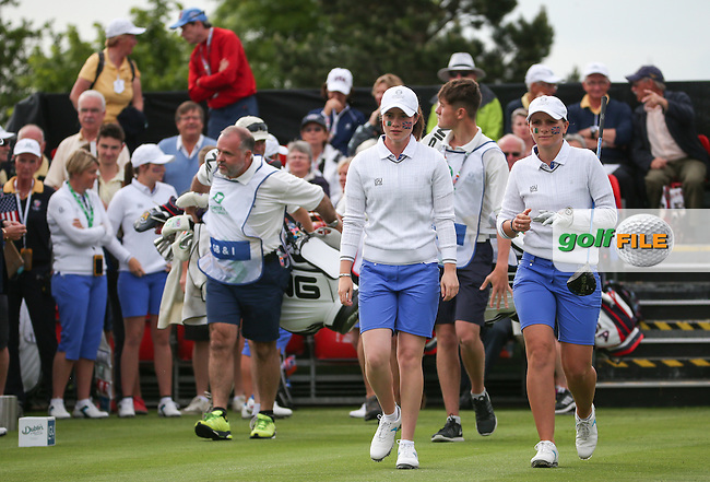 Leona Maguire and Charlotte Thomas leave the first tee during Friday Foursomes at the 2016 Curtis Cup, played at Dun Laoghaire GC, Enniskerry, Co Wicklow, Ireland. 10/06/2016. Picture: David Lloyd | Golffile. <br /> <br /> All photo usage must display a mandatory copyright credit to &copy; Golffile | David Lloyd.