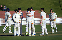 Wellington players celebrate victory on day three of the Plunket Shield cricket match between Wellington Firebirds and Otago Volts at the Basin Reserve in Wellington, New Zealand on Friday, 19 October 2018. Photo: Dave Lintott / lintottphoto.co.nz