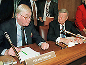 United States Senator Daniel Patrick Moynihan (Democrat of New York), left, ranking member of the US Senate Finance Committee discusses Charles Rossotti's testimony with committee Chairman US Senator William Roth (Republican of Delaware) following his confirmation hearing as IRS Commissioner on Capitol Hill in Washington, DC on October 23, 1997. <br /> Credit: Ron Sachs / CNP