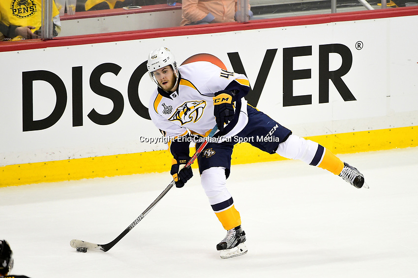 May 29, 2017: Nashville Predators left wing Pontus Aberg (46) takes a shot during game one of the National Hockey League Stanley Cup Finals between the Nashville Predators  and the Pittsburgh Penguins, held at PPG Paints Arena, in Pittsburgh, PA. Pittsburgh defeats Nashville 5-3 in regulation time.  Eric Canha/CSM