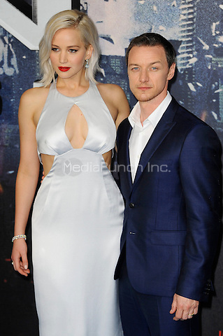 LONDON, ENGLAND - MAY 9: Jennifer Lawrence and James McAvoy attending the 'X-Men: Apocalypse' - Global Fan Screening at BFI IMAX in London on May 9, 2016 in London, England.<br /> CAP/MAR<br /> &copy; Martin Harris/Capital Pictures /MediaPunch ***NORTH AND SOUTH AMERICAN SALES ONLY***