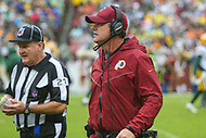 Landover, MD - September 23, 2018: Washington Redskins head coach Jay Gruden talks to the official during the  game between Green Bay Packers and Washington Redskins at FedEx Field in Landover, MD.   (Photo by Elliott Brown/Media Images International)