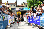 Race leader yellow jersey Thomas De Gendt (BEL) Lotto-Soudal at sign on before the start of Stage 2 of the Criterium du Dauphine 2017, running 171km from Saint-Chamond to Arlanc, France. 5th June 2017. <br /> Picture: ASO/A.Broadway | Cyclefile<br /> <br /> <br /> All photos usage must carry mandatory copyright credit (&copy; Cyclefile | ASO/A.Broadway)