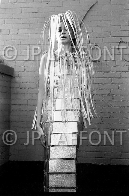 New York City. October, 1966. Actress wearing a wedding dresss made of metal, designed by Paco Rabanne.