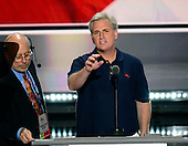United States House Majority Leader Kevin McCarthy (Republican of California) rehearses prior to the opening of the second day of the 2016 Republican National at the Quicken Loans Arena in Cleveland, Ohio on Tuesday, July 19, 2016.<br /> Credit: Ron Sachs / CNP<br /> (RESTRICTION: NO New York or New Jersey Newspapers or newspapers within a 75 mile radius of New York City)