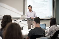 Professor Sophal Ear teaches his Diplomacy & World Affairs class in Johnson Hall, Oct. 28, 2015.<br /> (Photo by Marc Campos, Occidental College Photographer)