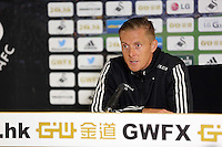 Pictured: Manager Garry Monk.Thursday 14 August 2014<br /> Re: Swansea City FC press conference at the Liberty Stadium, south Wales, ahead of their first game of the Premier League season against Manchester United this coming Saturday.