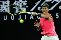 27th January 2020; Melbourne Park, Melbourne, Victoria, Australia; Australian Open Tennis, Day 8; Rafael Nadal of Spain returns to  Nick Kyrgios of Australia during their game