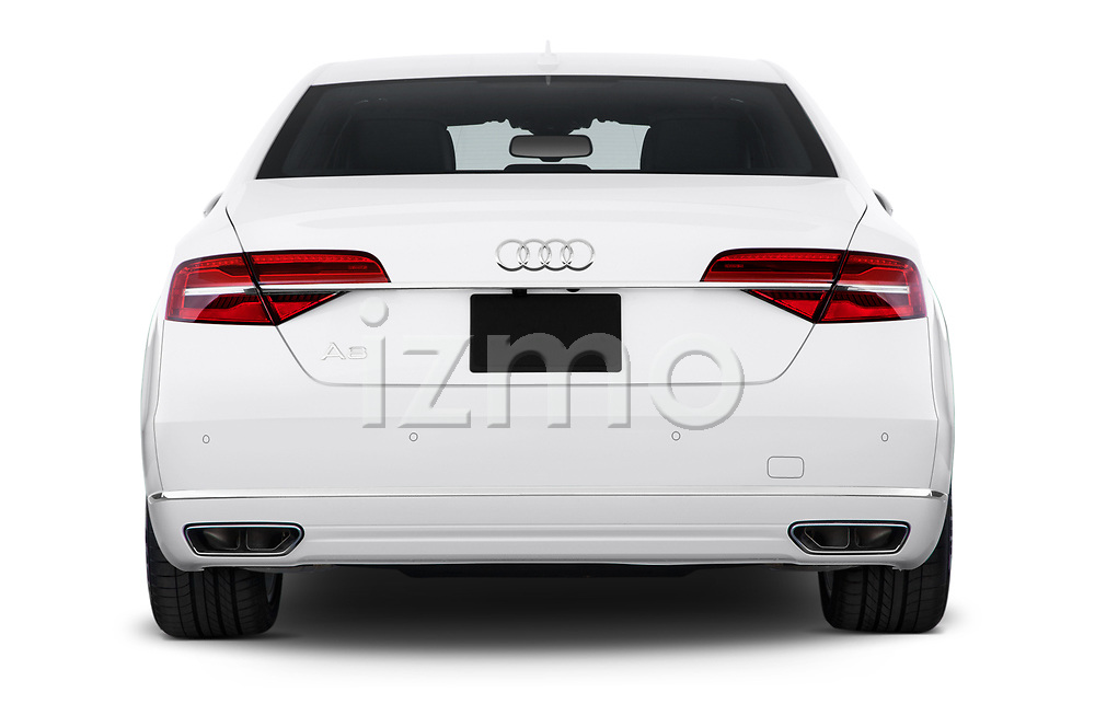 Straight rear view of 2015 Audi A8 4.0T NWB quattro Tiptronic 5 Door Sedan stock images