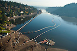 Aerials of the LOIS (Lake Oswego Intercept Sewer) project  during the 24ft drawdown of the Lake.