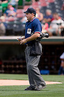 Home plate umpire David Rackley during an International League game between the Syracuse Chiefs and the Charlotte Knights at Knights Castle May 3, 2009 in Fort Mill, South Carolina. (Photo by Brian Westerholt / Four Seam Images)