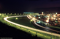 Daytona's vast grandstands provide spectacular, mesmerizing, night-time views of pit road activity as well as the entire race track.